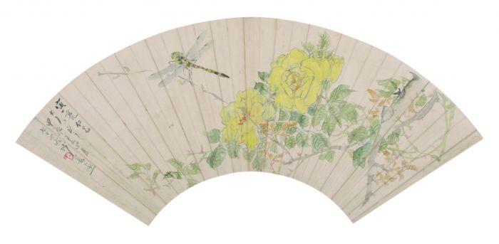 清 沙馥 月季蜻蜓图扇面