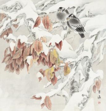 《初雪》 42cm×40cm 1992年 纸本设色