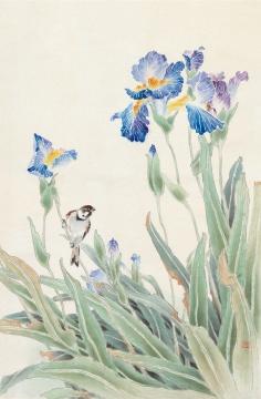 《紫鸢》 62cm×42cm 1990年 绢本设色