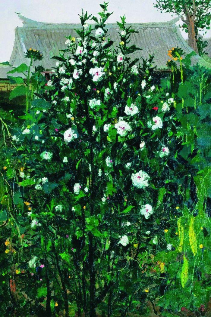 吴冠中1975年作 木槿 布面 油画 RMB %E3%80%8063,250,000北京保利2011年春季拍卖会