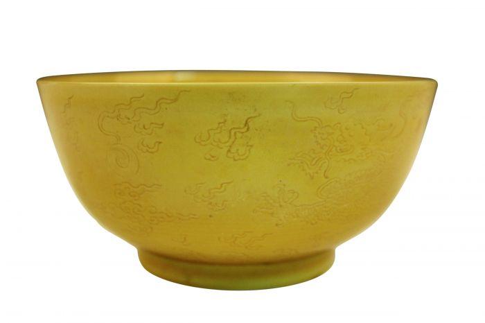 图2-1 乾隆款黄釉云龙纹瓷碗