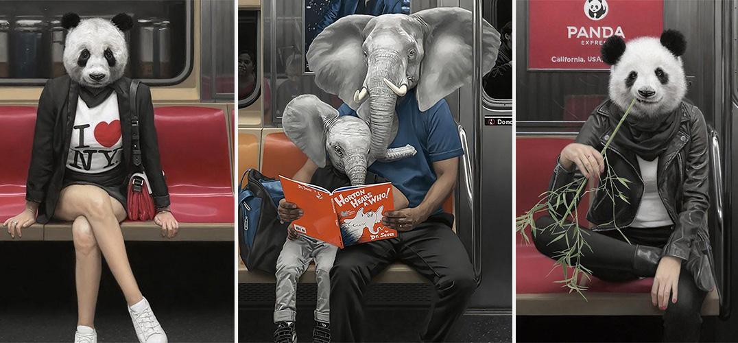 """地铁中的""""动物世界"""""""