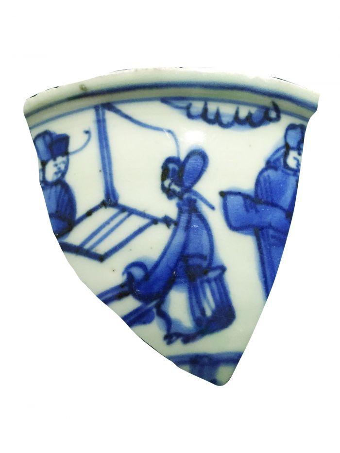 明代嘉靖瓷画《文会图》局部