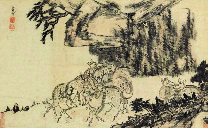 八大山人群鹿图 立轴 设色纸本RMB %E3%80%8041,400,000上海明轩2019年春季艺术品拍卖会