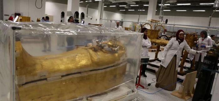 古埃及法老图坦卡蒙外层木质镀金棺即将开始正式修复