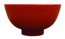 红到天际的清康熙珊瑚红釉青花一路连科碗