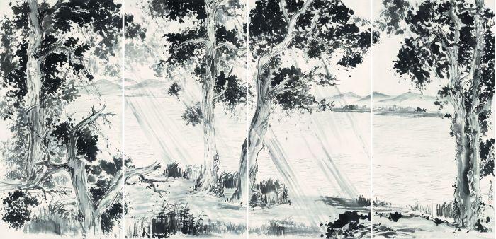 湖上春雨图四屏_150 cm X 76 cm X 4_2014年_纸本水墨