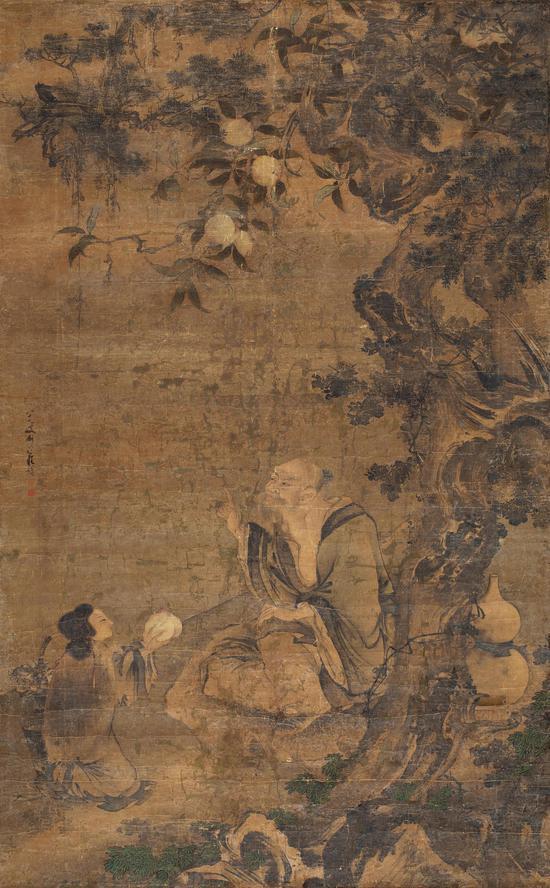 佚名 献寿图 绢本 立轴 207×128 cm