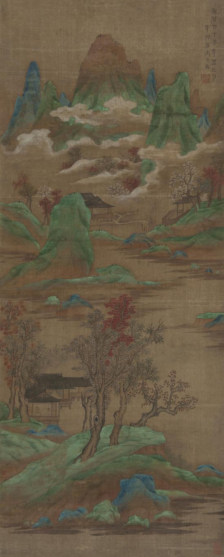丁云鹏(款) 白云红树图 绢本 立轴 107×43 cm