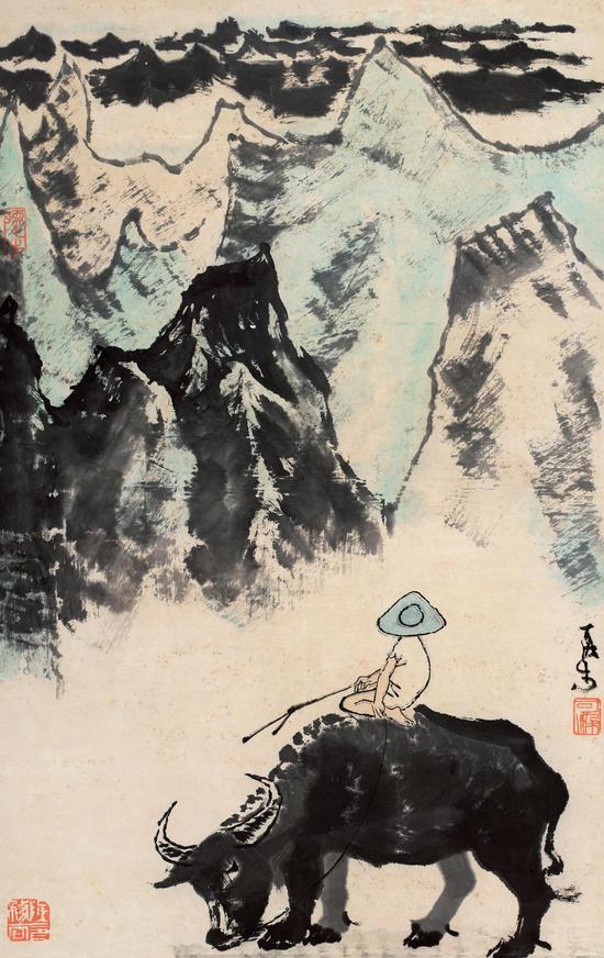 李可染 牧牛图 纸本 镜心 67×42cm