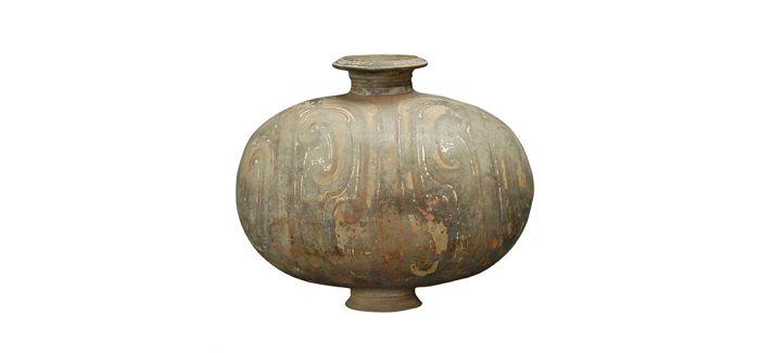 精巧可爱的汉代彩绘茧形陶壶