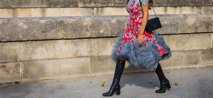 炙手可热的裙子+中筒靴 秋冬季的标配