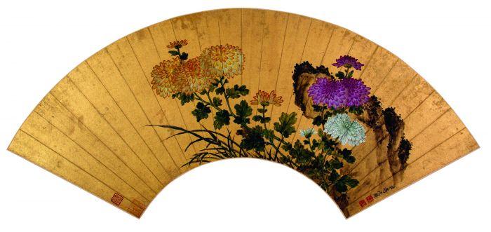蒋廷锡菊石图扇面