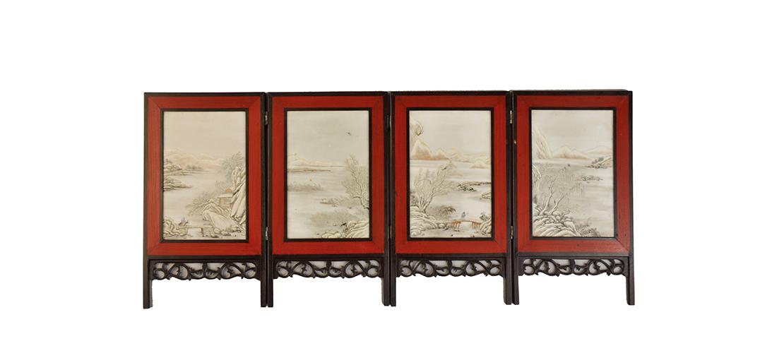 精致典雅的民国粉彩雪景山水人物纹瓷屏