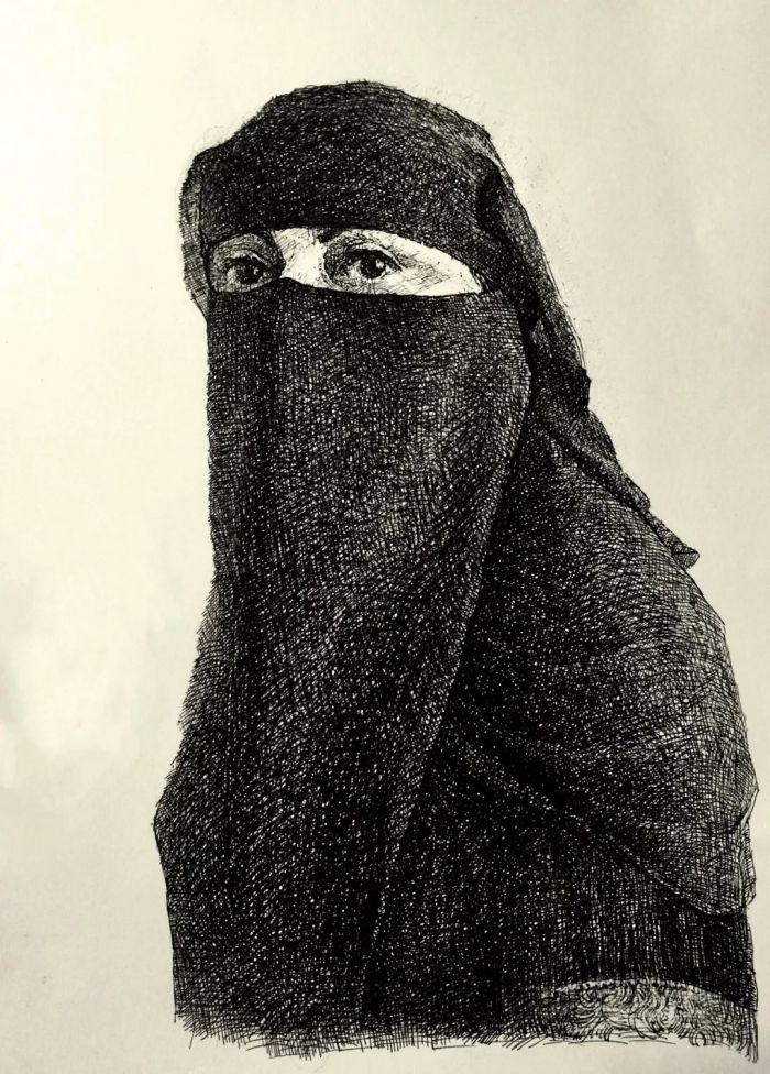 ▲曹伟《阿拉伯半岛西南端的也门萨那女人》 20*29cm|2017.08