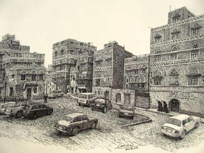 ▲曹伟《也门萨那古建筑》 20*29cm|2019.07