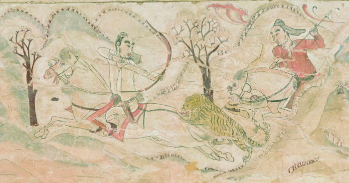 骑马引弓反身射虎
