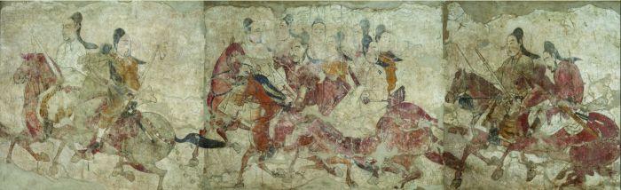 北齐武平元年(571年)西壁鞍马游骑图 纵158、横198