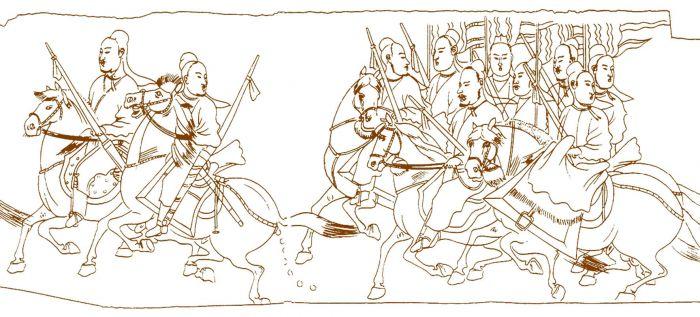 北齐武平元年(571年) 娄睿墓西壁鞍马导引图,墓道西壁第二层(线描图)