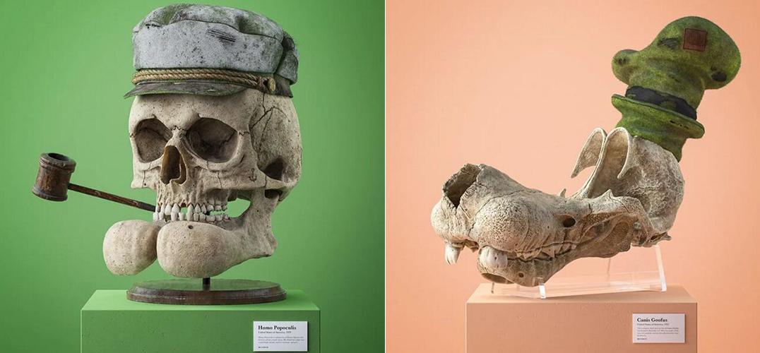 艺术家用仿真骨骼化石纪念自己最喜欢的动画片