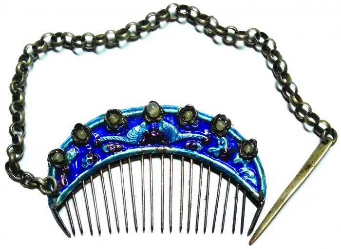 清末缀珠珐琅银梳