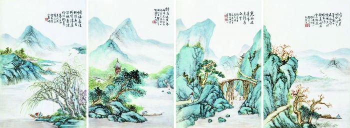 田鹤仙1931年作粉彩山水人物瓷板 (一套四件),224.2万港元成交