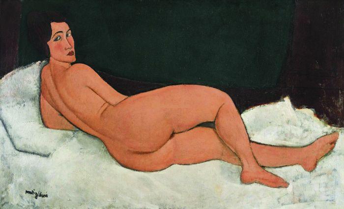 意大利画家亚美迪欧·莫迪瑞安尼(1884—1920)1917年作《向左侧卧的裸女》油画(2018年纽约苏富比1.57亿美元成交,折合人民币10.1亿元)