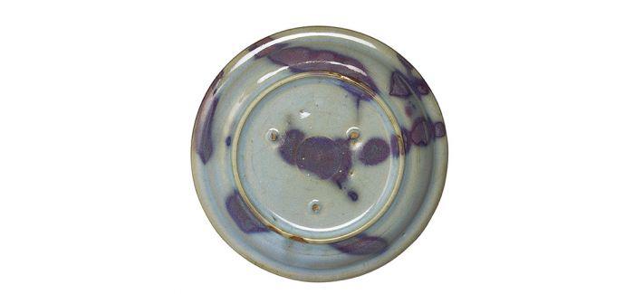 古朴雅致的金至元钧窑天蓝紫斑圆盘