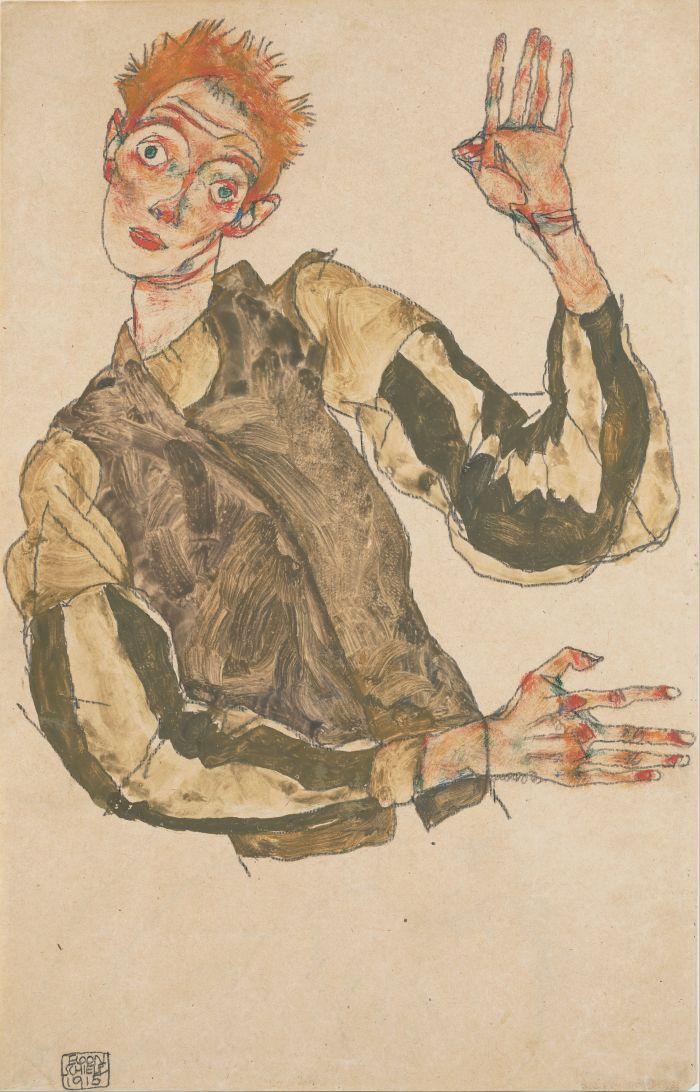 Egon_Schiele_-_Self-Portrait_with_Striped_Armlets_-_Google_Art_Project