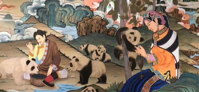 """熊猫唐卡长卷""""滚滚""""来"""