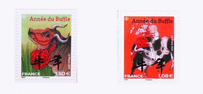法国邮政公司发行牛年生肖纪念邮票