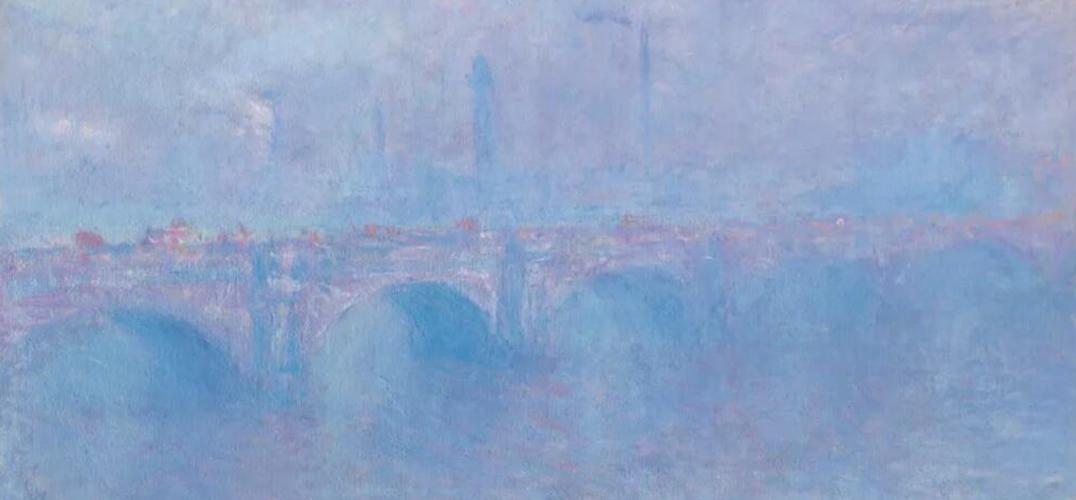 """莫奈""""伦敦景观""""之《雾中的滑铁卢桥》"""